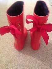 size 1 girls wellingtons red with bows and ladybird detail