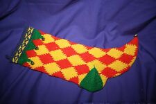 "Knit Christmas Stocking Bells Lined Vintage 19"" harliquin"