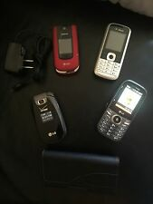 LOT of 4 Vintage cellphones, Verizon T-mobile AT&T With 1 case & 1 Phone Charger