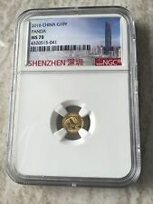 2016 Gold Panda Coin 1 Gram NGC MS70,Struck From ShenZhen Mint