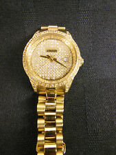 Ladies Croton DIAMOND ENCRUSTED WATCH Automatic  Date & Skeleton Back  Small 6""