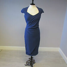 HOBBS SWEETHEART NECKLINE FITTED OCCASION DRESS - SIZE 8- BLUE