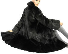 Bisam Pelzmantel schwarz gefärbt black muskrat fur coat Pelz Fellmantel Echtfell