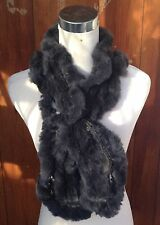 dark grey genuine real rabbit fur wavy scarf neck warmer collar shawl stole