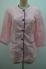 BLOUSE ROSE NYLON OVERHALL TABLIER APRON KITTEL BLUSE TAILLE 38