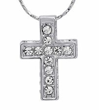 Collana in argento . Platinato Gesù Cristo Croce Strass gioielli da donna