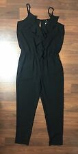 NWT H&M SZ 8 Black Sleeveless Ruffle Tapered Pant Open Back Jumpsuit Romper