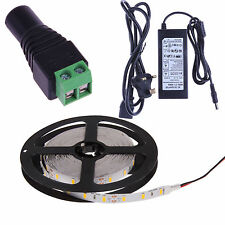 3528 5050 5630 Waterproof 5M SMD White LED Flexible Strip Light / Adapter/DC Lot