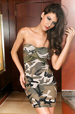 Mini Abito camouflage no maniche spalle scoperte Womens Mini club dress clubwear