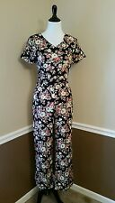 NWT Glamorous $60 S Black Floral Jumpsuit Modcloth Groove On Up Retro Boho Chic