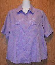 Womens Purple Floral Allsion Daley Semi Sheer Shirt Size Large XL Petite exc