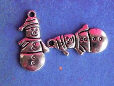 10 Silver Snowman Snowmen Snow Man Holiday Christmas Charms for Jewelry Making