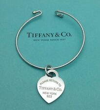 NEW Tiffany & Co. Sterling Silver Wire Bracelet & Return To Tiffany Heart Charm