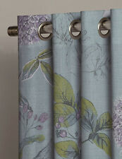 "NEXT Teal Botanical Floral Print Eyelet Curtain Velvet Trim 168x229cm 66x90"" NEW"