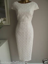MONSOON LACE IVORY BRIDAL SHIFT PENCIL WIGGLE DRESS SUMMER BEACH WEDDING 20-22