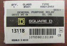 SQUARE D DPDT Relay 15 Amp 12VDC 8501 KXD12V51