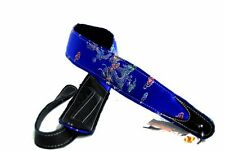 Jodi Head Blue Dragonface Brocade Sleek Leather Adjustable Tail Guitar Strap