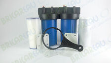 "Dual Stage 10"" Big Blue Whole House Water Filter Pleated & CTO Filter Cartridges"
