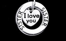 D20 I Love You Sister Silver Circle Cut Out Heart Charm Necklace