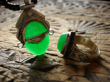 Green agate and silver  Niger Tuareg scarab pendant and agate ring jewellery set