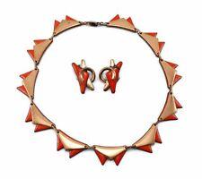 Vintage MATISSE Eames Era Modernist Orange/Red Enamel Copper Collar Necklace SET