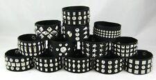 New Set of 12 Different Faux Leather Studded Punk Rocker Biker Bracelets