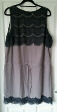 Edeis by La Redoute Pretty Grey sleeveless Shift Work Dress with Lace UK 16 BNWT