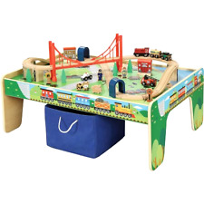 Train Table Wooden 50 Piece Set Small Train Track Boys Kids Toy Play W/ Friends