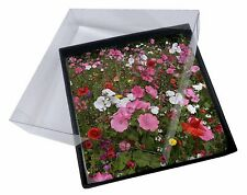 4x Poppies and Wild Flowers Picture Table Coasters Set in Gift Box, FL-10C