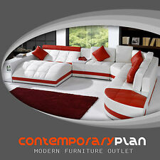 Miami Contemporary Leather Sectional Sofa Set - Curved Modern Design Red / White