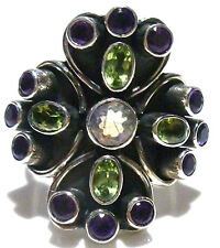 SIZE 8.25 NICKY BUTLER STERLING SILVER MOONSTONE AMETHYST PERIDOT COCKTAIL RING