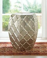 silver Moroccan FACETED metal outdoor furniture garden stool end table stand