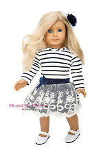 STRIPED LACE DRESS + PEARL SHOES Outfit for 18 inch American Girl Doll Clothes