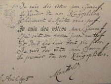 3/ JULES DE MARTHOLD / Poème Autographe à Albert Montreuil 1905