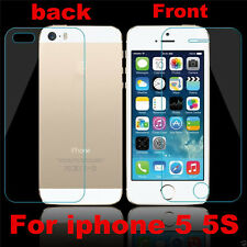 For iPhone 5 5S 100% Genuine Tempered Glass Screen Protector Film Front + Back