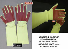 SET Animal Handling KEVLAR KNIT GLOVE&SLEEVE COMBO RUBBER PALM DOG CAT BIRD PET