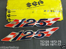Suzuki TS125 Side Cover Badge x2 NOS TC125 Side Panel Emblem OIL TANK BADGE