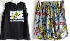 BOYS 7 8 M BLACK SKATEOSAURAUS N/S SHIRT SHORTS PAJAMAS NWT THE CHILDREN'S PLACE