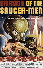 VINTAGE INVASION OF THE SAUCER MEN MOVIE POSTER A4 PRINT