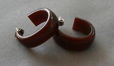 Brown Oval Hoop Bakelite Earrings for pierced ears Translucent Brown