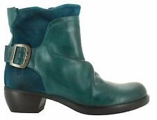 FLY LONDON MEL RUG LEATHER & SUEDE PETROL GREEN ANKLE BOOTS UK 4 EUR 37 RRP £125