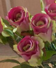 10 x Rose Edelrose klein pink-grün  Kunstblumen -Seidenblumen