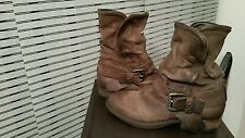 100% GENUINE AIRSTEP WOMEN'S ANKLE  LEATHER BOOTS *BROWN* SIZE 38