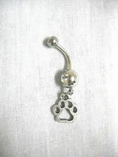 NEW CUTE ANIMAL PAW PRINT SILHOUETTE CHARM DBL CLEAR CZ 14g BELLY BUTTON RING