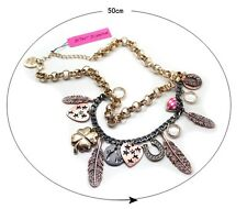 N591 BETSEY JOHNSON Dangling Magic Gem Crystal Feather w/ Love Heart Necklace