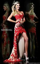 21016 Sherri Hill Hi Lo Red/Nude Lace Evening Formal Prom Gown Dress Size USA 6