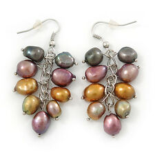 Grey, Bronze, Purple Freshwater Pearl Grape Drop Earrings In Silver Tone - 50mm