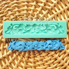 Flower Floral Lace Sculptured Silicone Fondant Mould Cake Decor Icing Paste Mold