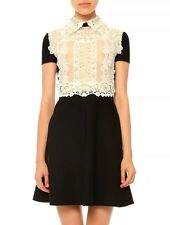 $3,174 NEW VALENTINO 2016 fall Embroidered Wool Crepe Silk Lace Eyelet Dress S 4