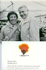 MARIO ANDRETTI GLENN FORD SMILING PORTRAIT WHEN HAVOC STRUCK 1977 PBS TV PHOTO